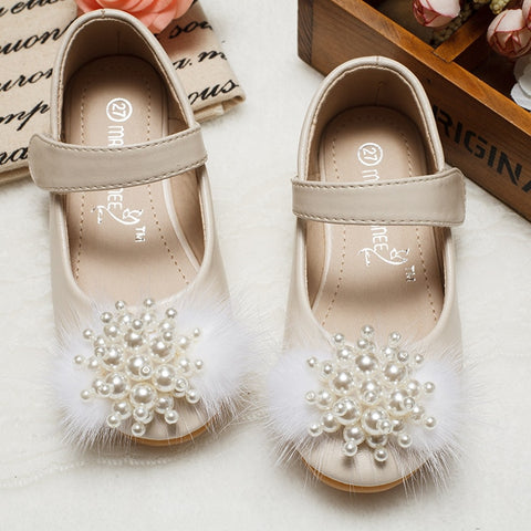 Autumn Summer Baby Shoes Girl Princess Beading Flower Soft Soled Flats Anti-Slip Kids Pink White Black Flats Party Shoes