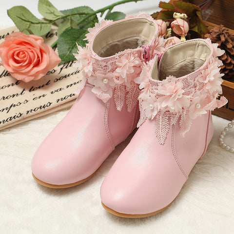 Fashion Winter Kids Handmade Fancy Bead Decoration Princess Boots Genuine Leather Warm shoes with fur princess girl boots