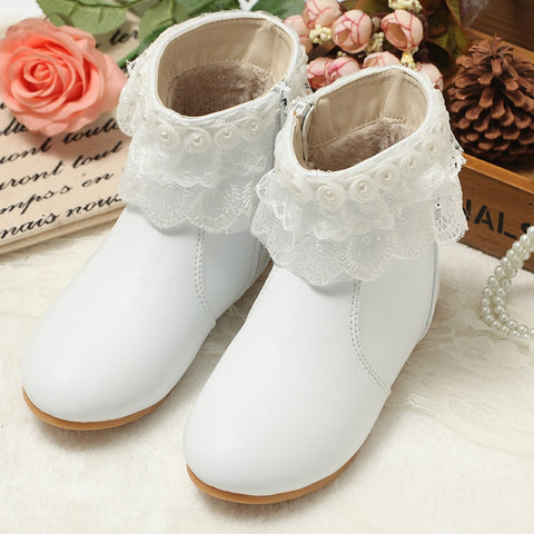New Children Princess Lace Snow Boots Kids Anti-Skid Tendon Soles Genuine leather Warm Shoes with fur Princess girls boots