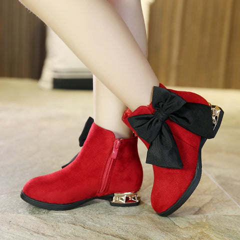 New Autumn Winter Girls Boots Children Leather Shoes Fashion Girls Princess Boots Thickening Girls Red Bow Snow Boots