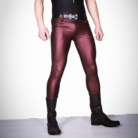 Cool Thin Soft Faux Leather Pants Men's Long Trousers Latex Skinny Tights Leggings Men Slim Fit Tight Pants Casual Jeans Slacks