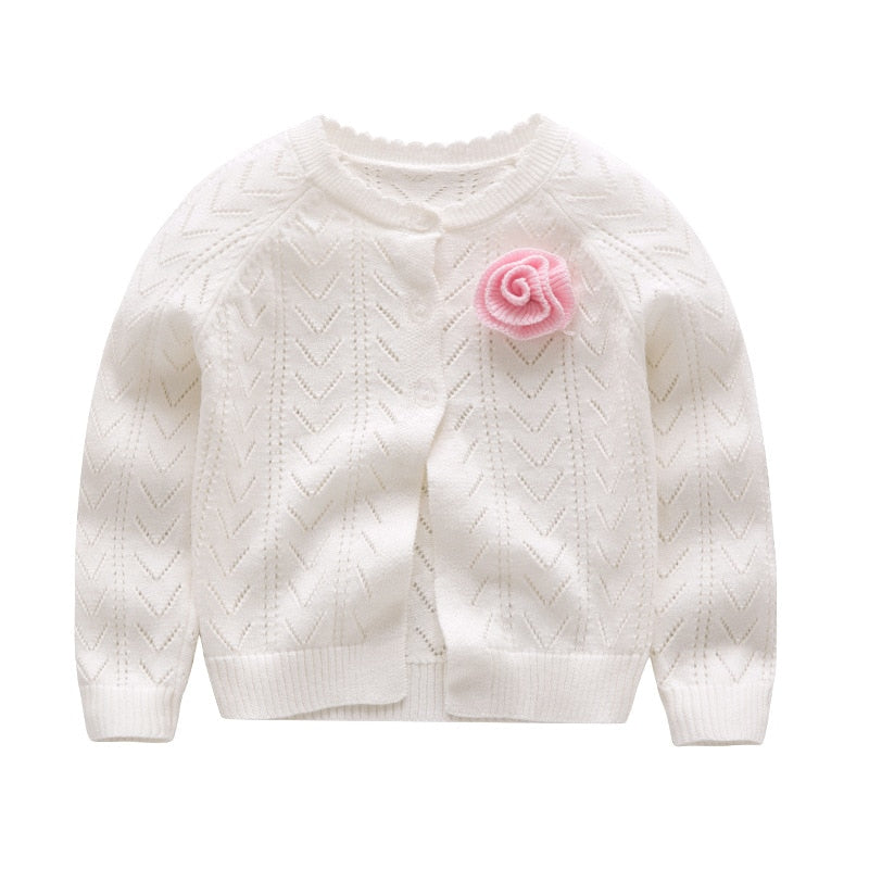 Autumn Baby Sweater For Girls Cardigan For Girls Sweater Solid Fashion Kids Clothes For Girls Clothes Flower YW