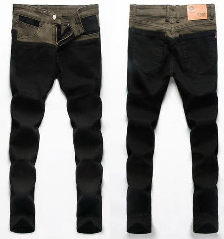 Free shipping men's fashion jeans new brand Men's pants  slim skinny jeans pencil pants patchwork jeans men