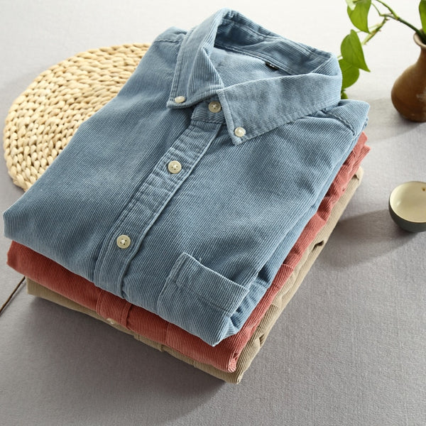 Men Spring And Autumn Style Vintage Slim Fit Corduroy Shirt Male Casual Blue Red Shirt Cloth
