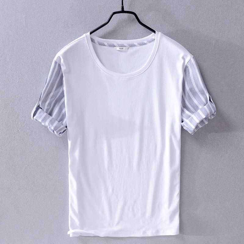 Summer cotton half sleeve t shirt men brand stripe and solid stitching trend men t-shirt casual white tshirt for men camisa