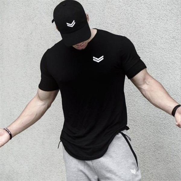 Summer new Men gyms Fitness t shirt Crossfit Bodybuilding Shirts Fashion Casual Male Short sleeve cotton Tees Tops clothing