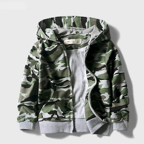 New Brand Fashion Children boys Hooded Jackets Printing Camouflage Full sleeved Hooded Outerwear For 2-10 yrs kids coats
