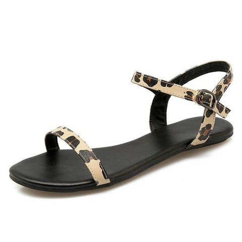 Women Sandals Fashion Shoes All Match Sandals Low Heel  Leopard Western Style Women Sandals Size