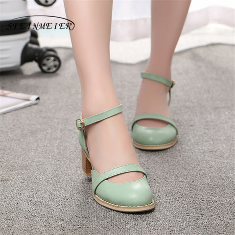 Women sandals oxford shoes vintage genuine leatehr high heels gladiator oxfords summer platform sandals for women green 2019