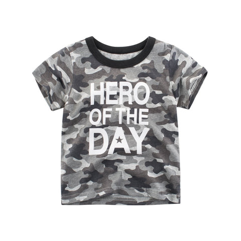 Boys Camouflage T-shirts Summer Letter Print Children Short Sleeve T Shirts For Boys Kids Cotton Tops Tees Summer Clothes