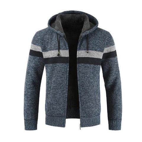 Men Winter warm cardigan sweater color Patchwork velvet padded hooded coat
