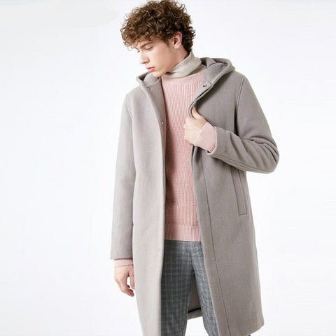 Men's Winter Wool-blend Cashmere Medium-style Woolen Coat S|418427566