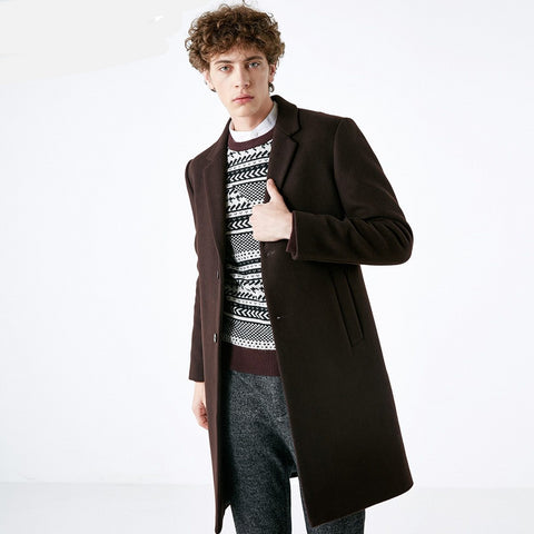 Men's Winter Wool-blend Cashmere Medium Style Woolen Coat S|418427551
