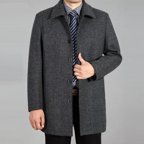 New Men Woolen Coat Autumn Winter Overcoat Wool Long Coat Mens Peacoat Men Wool Jacket Winter Coat For Men Plus Size 7XL