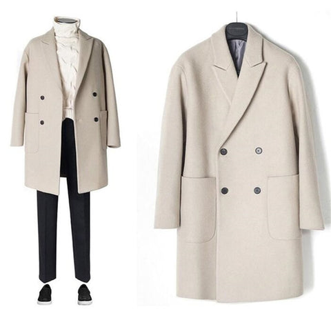 New Men Windbreaker Mens Trench Coat Men Coat Casual Jacket Fashion Brand Clothing Men's Wool Trench Coat Long For men