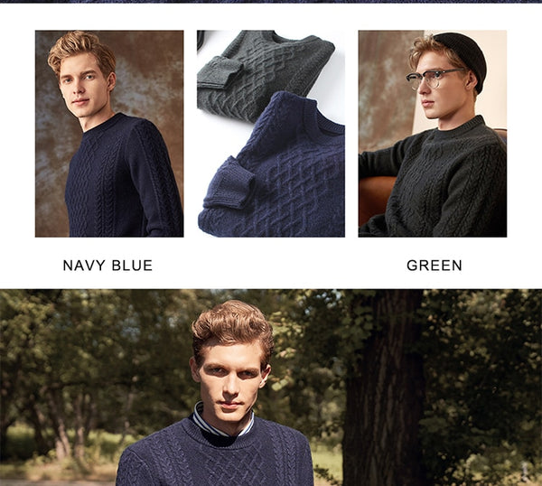 Winter Thick Warm 100% Goat Cashmere Sweater Men Brand Pullover Sweater Rib Knit Fashion Streetwear Plus Size Jumpers