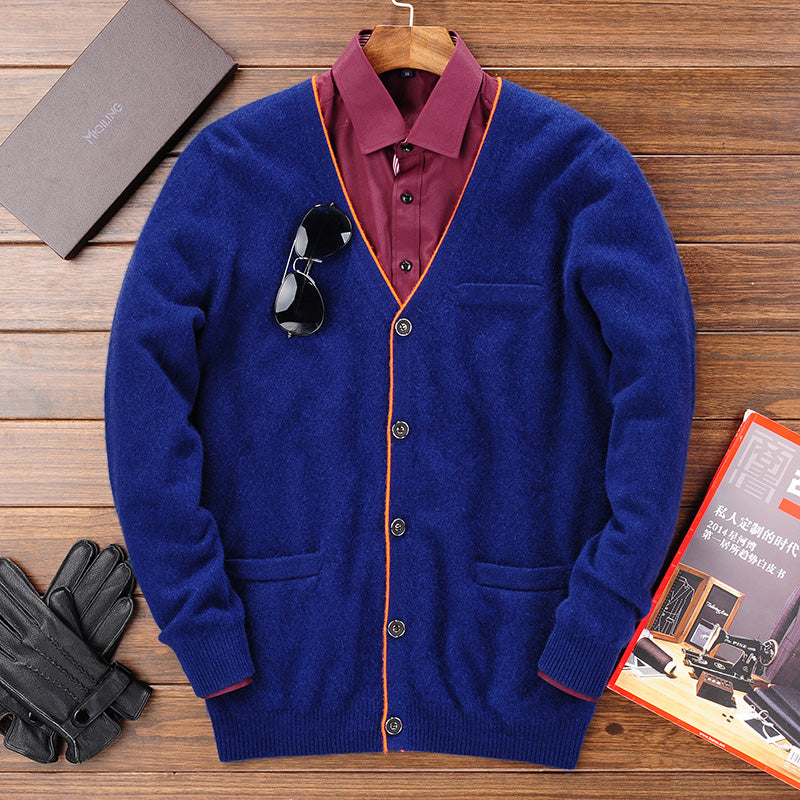 Winter Warm Knitted Cashmere Cardigan Men Christmas Merino Woolen Sweater Men Casual Pure Color V-Neck Cardigans Coat