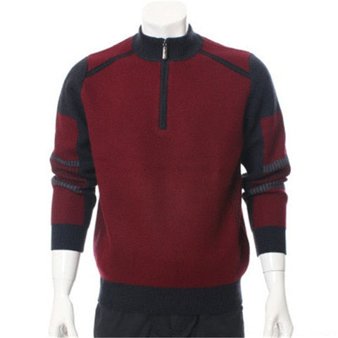Cashmere thick knit men fashion contrast color zipper half-high collar pullover sweater H-straight red 2color S/2XL