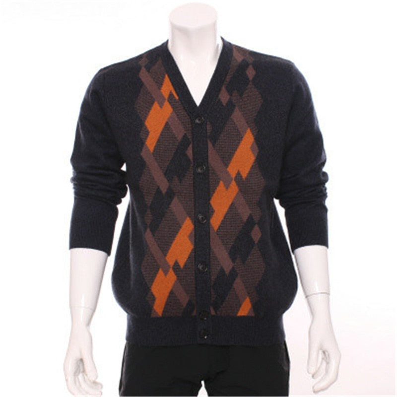 100%goat cashmere Vneck thick knit men fashion patchwork color argle cardigan sweater blue 2color S-XL