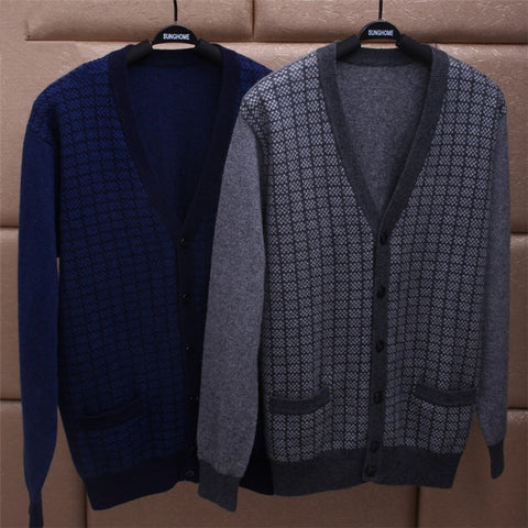 100% cashmere plaid knit men fashion v-neck H-straight thick cardigan sweater dark blue 2color S/3XL