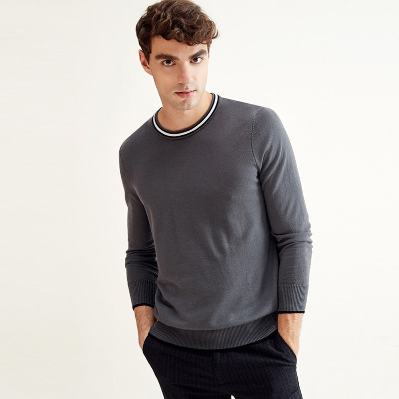 Men's 100% Wool Pullover Relaxed Sweater