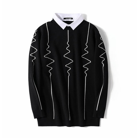1-6XL Autumn and Winter Fashion Men's Sweater Casual ECG Fake Collar Pullover Warm Bottoming Sweater