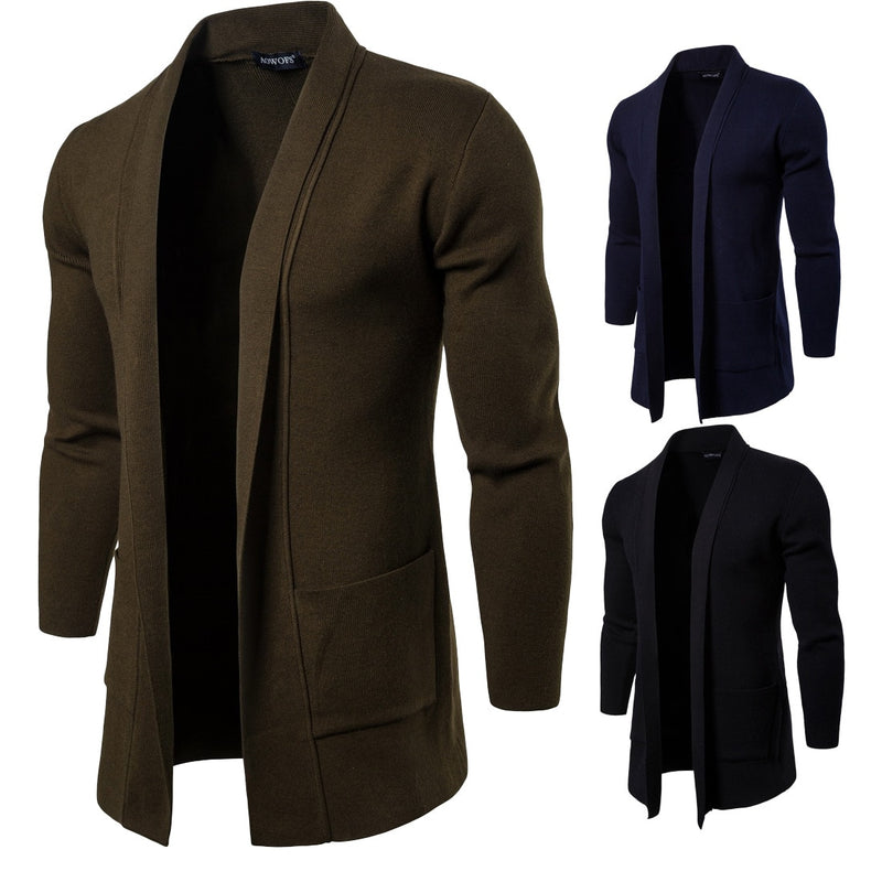Europe and America New Fashion cardigan jacket Spring and Autumn men's clothing long Knitted Sweater  Men's Clothing