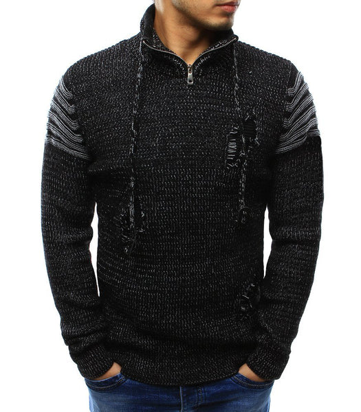 Winter Sweater Pullover Men Male Brand Casual Slim Sweaters Men High Quality Zipper Holes Sweater Knitted