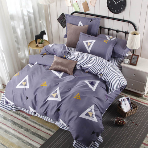 Bedding Sets Soft Cotton 4pcs Simple Pattern Home Textile Bed Set Sheet Pillowcase Duvet Cover Set For Home