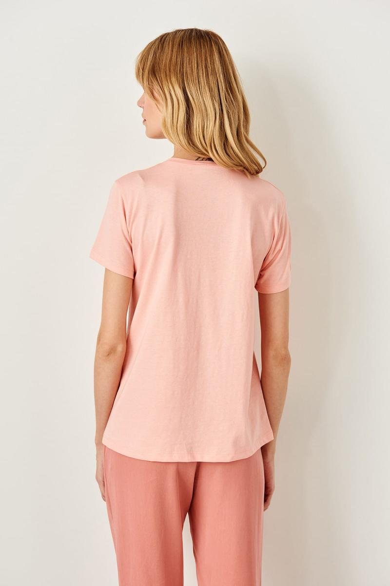 Pink Printed Basic Knitted T-Shirts