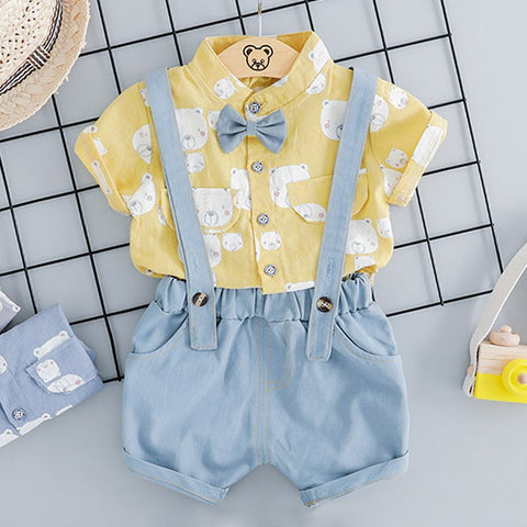 Newborn Clothes Summer Baby Boys Clothes Set T-shirt+Overalls 2pcs Outfit Suit Baby Clothes For Baby Suit Infant Clothing