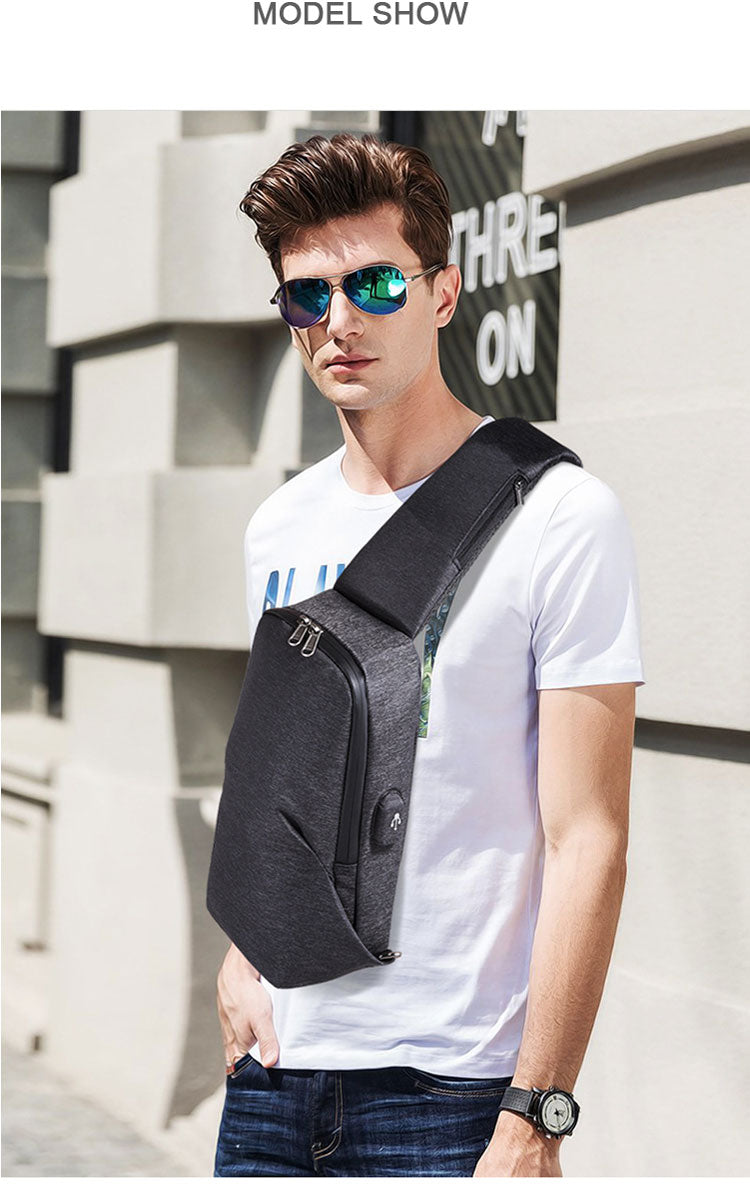 Multifunction Crossbody Bags Men USB Charging Chest Pack Short Trip Messengers Chest Bag Shoulder Bag Male