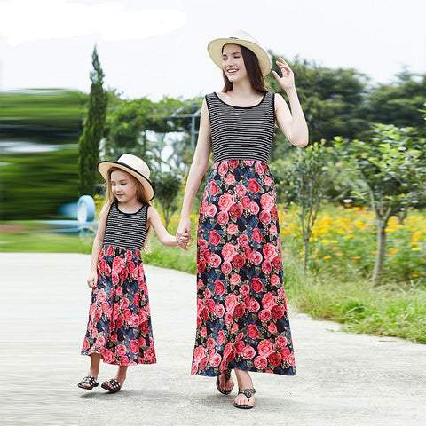 b2bcb1b96585 Mother Daughter Dresses Summer Mommy And Me Clothes Striped Floral Print  Family Look Mom And Daughter