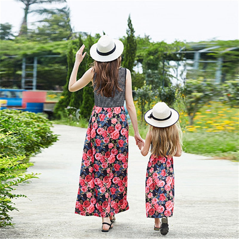 Mother Daughter Dresses Summer Mommy And Me Clothes Striped Floral Print Family Look Mom And Daughter Family Matching Clothes