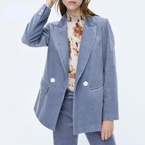 Wonder Spring Long Sleeve Corduroy Blazers Vintage Single Button Female Solid Blazers Casual Formal Lady Blazers Outwear