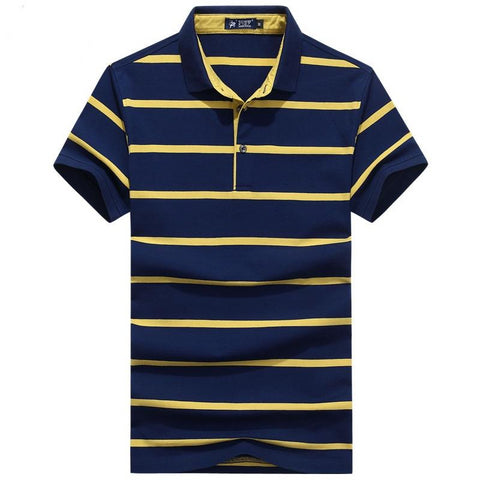 Business Fashion Lapel Stripes Polo Shirts Men Casual Wear Male Short Sleeve Polos Para Hombre Men Clothing