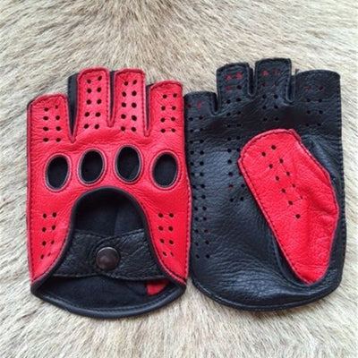 New Half Finger Men Genuine Leather Gloves Goatskin Gloves Men Breathable Driving Gloves Male Mittens