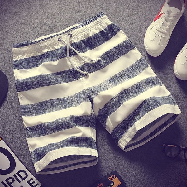 Summer Men Casual Shorts Mens Striped Short Loose New Breathable Drawstring Elastic Waist Thin Male Fashion Style Trendy