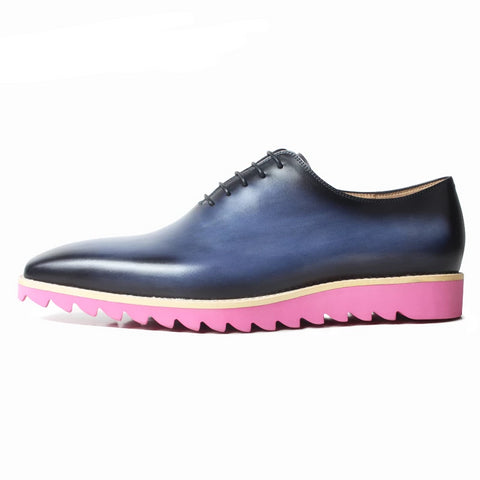 Leather Sneakers For Men Handmade Blue Patina Dress Shoes Mans Square Toe Oxford Shoes Wedding Office Driving Footwear