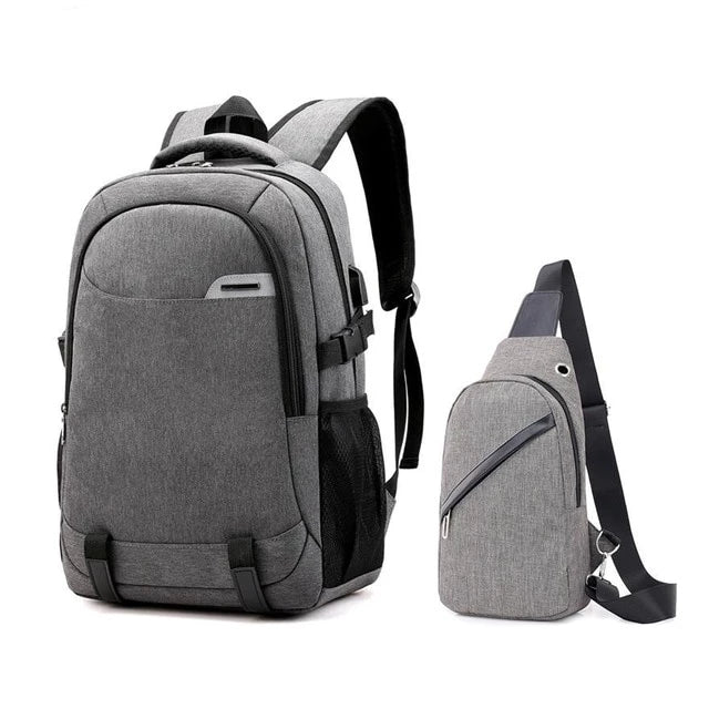 Big school bags for teenagers boys waterproof large school backpack usb charge boy sling chest bag set reflective strip