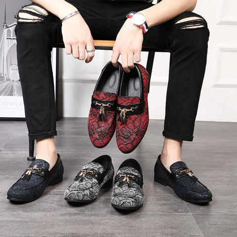 Casual Leather Shoes New Style Tassel Snakeskin Pattern Dress Shoes Personality Nightclub Christmas Party Shoes
