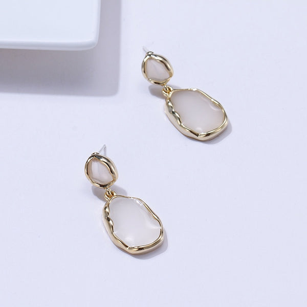 Trendy Simple Classic Enamel Geometric Dangle Earrings Copper Silver Jewelry boucle femme for Party