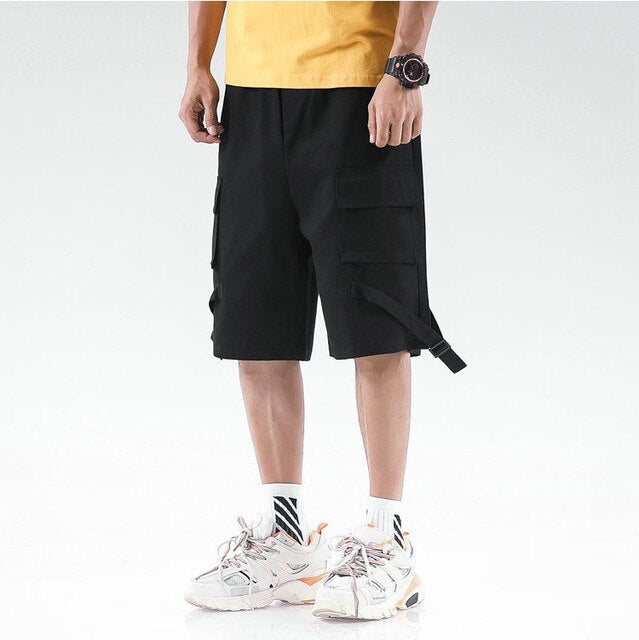Western Stylish Men Gym Jogging Short Trousers Solid Ribbons Casual Workout Cargo Shorts Male Multi-pocket Hip Hop Harem Shorts