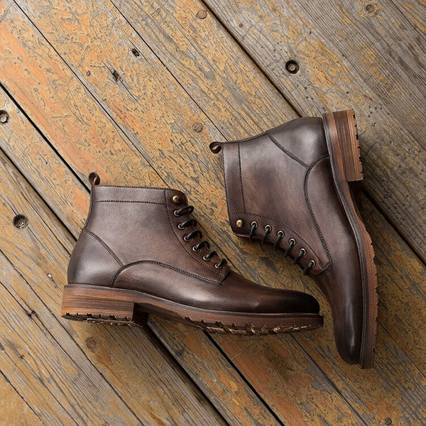 NEW Vintage Men Chelsea Boots High Quality Fashion Lace Up Ankle Boots Genuine Leather Comfortable Casual Boots Shoes