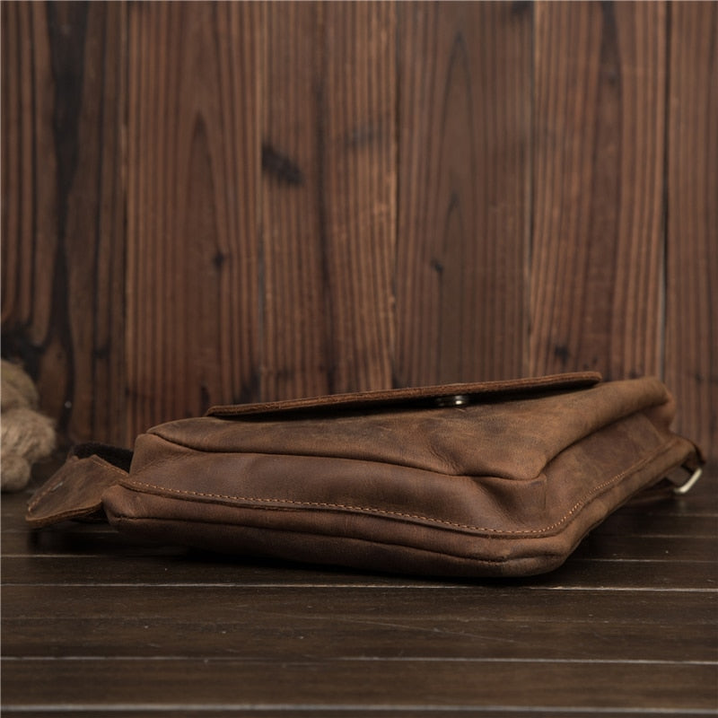 Man Triangle Chest Bag Genuine Leather Crossbody Shoulder Handbag Male Messenger Bag Business Travel father's day Gift