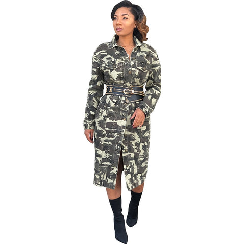 Autumn Winter Long Coat Women Camouflage Print Jacket Front Buttons Turn-Down Collar Long Sleeve Outerwear with Belt Clothes