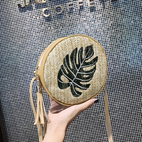Fashion Woven Beach Circle Bohemia Handbag Pineapple Pattern Embroidered Round Straw Handbags Women Messenger Bag