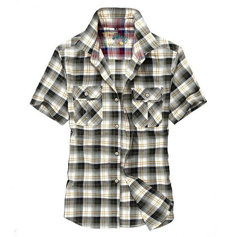 Europe men's summer fashion green grid short shirt man good quality casual  100% pure cotton red plaid shirts