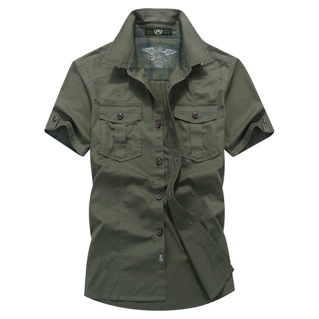 Summer men's casual brand army green short sleeve shirt man 100% pure cotton khaki shirts male dark blue tops
