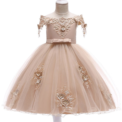 First Communion Dress Summer Flower Girl Dresses For Weddings Birthday Kids Girl Clothes Children Clothing Baby Costume L5057